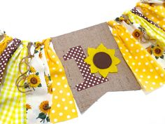 SUNFLOWER Birthday Banner HighChair High Chair by SeacliffeCottage