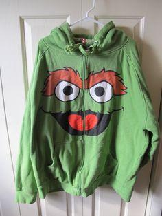 Men's 4XL Green Oscar the Grouch Sesame Street Reversible Hoodie Sweatshirt  #SesameStreet #Hoodie