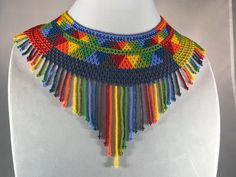 Aztec Necklaces, Handmade Necklaces, Handmade Gifts, Beaded Necklaces, Mexican Jewelry, Beading Techniques, American Traditional, Hama Beads, Crochet Necklace