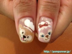 ダッフィーネイル、バレンタインバージョン    Duffy nail valentine version