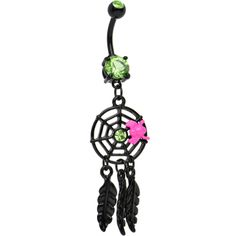 This is a black spider web dreamcatcher belly button ring with a pink spider. Black Jewelry, Gems Jewelry, Body Jewelry, Jewlery, Gemstone Jewelry, Bellybutton Piercings, Piercing Ring, Stomach Piercings, Dangle Belly Rings