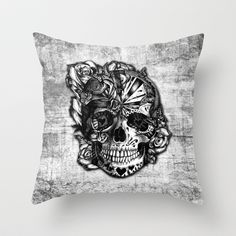 Sugar and Spice grunge candy skull. Throw Pillow by Kristy Patterson Design