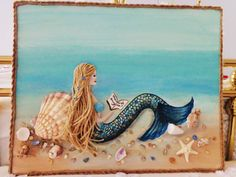 Mermaid Collage- Mixed Media on Canvas- Original Acrylic Coastal Art- 16X20 inches by MidorisMyMuse on Etsy https://www.etsy.com/listing/232402052/mermaid-collage-mixed-media-on-canvas