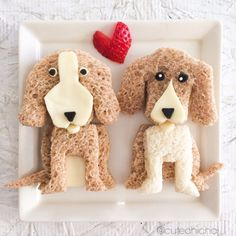 My favorite food art of dogs 🐶 ~. Cute Snacks, Cute Food, Funny Food, Toddler Meals, Kids Meals, Food Art For Kids, Childrens Meals, Food Carving, Food Decoration