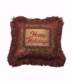 Happy Holidays Red and Gold Animal Christmas Pillow