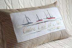 вышивка крестом, подушки с вышивкой, Entre Ciel et Mer, Между небом и морем, Isabelle Vautier, Изабель Вотье, морская подушка