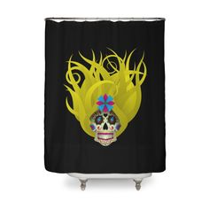 Blond Sugar Skull | Shower Curtain by The Art Of Warren | Various Designs Available