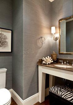 Seagrass wallpaper -John Street Project - traditional - bathroom - los angeles - Caroline Burke Designs & Associates, Inc.