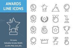 Awards Line Icons. $5.00