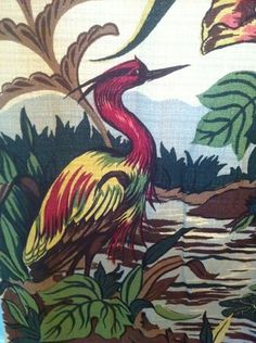 Pair of Vintage Bark Cloth Drapes  Tropical / Floral / Water Birds(3 of 3 sets)