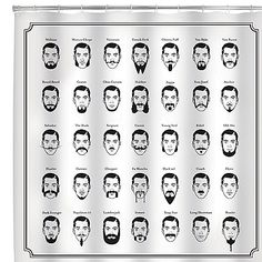 Add style and fun to your bathroom, while getting insight into the world of facial hair stylings. This unique shower curtain features 35 different beard, side-burn and mustache styles and names on it.