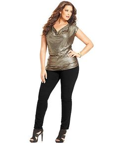 MICHAEL Michael Kors Plus Size Cap-Sleeve Sequined Top & Skinny Jeans - MICHAEL Michael Kors - Plus Sizes - Macy's