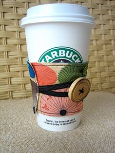 Reusable Coffee Sleeve Tutorial - The Cottage Mama.  Quick and easy and really cute!  This would make a fun gift.