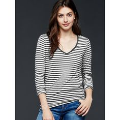 Gap Women Long Sleeve Stripe V Neck Pocket Tee ($15) ❤ liked on Polyvore featuring tops, t-shirts, gray stripe, regular, gray t shirt, pocket tees, striped long sleeve t shirt, grey v neck t shirt and v neck tee