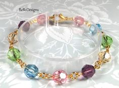 Swarovski Crystal Multi Color Beaded Bracelet-Rose Pink-Aquamarine-Peridot-Golden Shadow-Amethyst by BeBoDesigns on Etsy