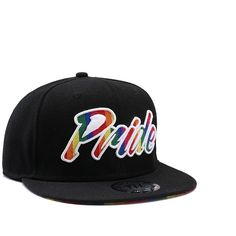 9a7987795d394 Gay Pride Black Rainbow Snapback Baseball Cap ( 16) ❤ liked on Polyvore  featuring accessories