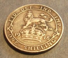 STERLING SILVER 1918 UK Great Britain 1 Shilling coin High Grade King George V WWI