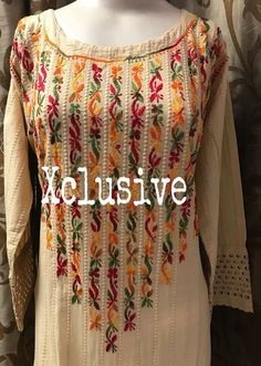 Best 12 Hand embroidery kurti saved by Swati Kulkarni – Page 441141725998689236 Embroidery On Kurtis, Hand Embroidery Dress, Kurti Embroidery Design, Embroidery Neck Designs, Embroidery On Clothes, Embroidery Suits, Embroidered Clothes, Embroidery Fashion, Stylish Dress Designs