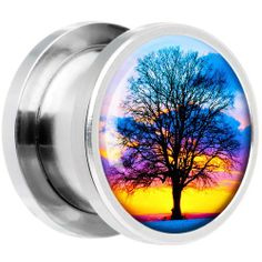 4 Gauge Steel Sunset Tree Branching Out Screw Fit Plug Body Candy. $9.99. Sold Individually. Purchase 2 for a Pair. Save 67% Off!