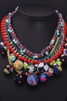 Multicolour Balls Tiered Bib Necklace
