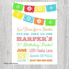 Mexican Fiesta Invitation - Papel Picado Bunting Personalized Birthday Invitation - You Print