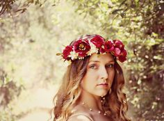 Anastasia - romantic rose flower crown, wedding flower crown, wedding hair accessories, renaissance faire, wedding headpiece, rustic wedding...
