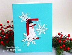 Memory Box Mini Snowman Collage, Memory Box Delicate Stitched Snowflakes, Memory Box Open Studio Stitched Rectangle Layers, Jean Okimoto, Impress Cards and Crafts