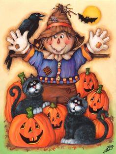 Diamond Painting Scarecrow, Cats and Pumpkins Kit Halloween Images, Cute Halloween, Holidays Halloween, Vintage Halloween, Halloween Pumpkins, Halloween College, Halloween Scarecrow, Halloween Drawings, 5d Diamond Painting