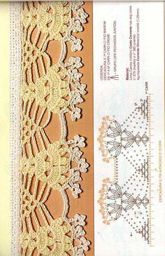 Обвяжем край красиво 7. Восхитительная мега коллекция.. Обсуждение на LiveInternet - Российский Сервис Онлайн-Дневников Crochet Border Patterns, Crochet Lace Edging, Crochet Wool, Crochet Diagram, Filet Crochet, Thread Crochet, Love Crochet, Crochet Designs, Crochet Flowers