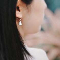 white diamond earrings. #ceramicjewelry #ceramic earrings #porcelain #boohua