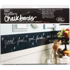 Wallies Chalkborder Peel & Stick Border - over 6ft of removable, repositionable  peel and stick chalkboard. Perfect for kitchens, offices, or bedrooms $21.95