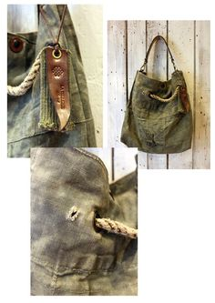"""Handmade Italian  Vintage Leather Tote & Vintage fabric from 1965 """"BANG Bag CORDA"""" di LaSellerieLimited su Etsy"""