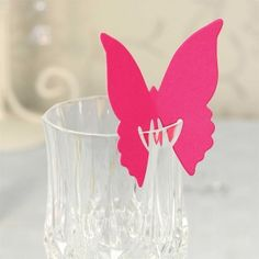 Hot Pink Butterfly Place Cards