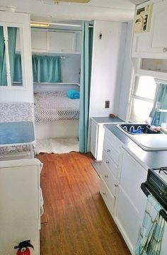 Beautiful color choices in this RV remodel.                                                                                                                                                                                 More