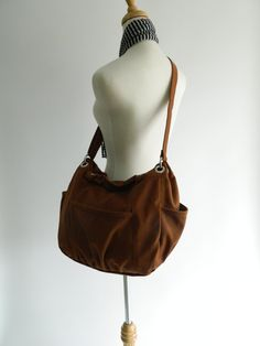Back to school SALE Anna in Cognac / Diaper by christystudio Big Bags, Large Bags, Messenger Bags For School, Canvas Laptop Bag, Mothers Bag, Back To School Sales, Cosmetic Items, Shoulder Bags For School, School Bags