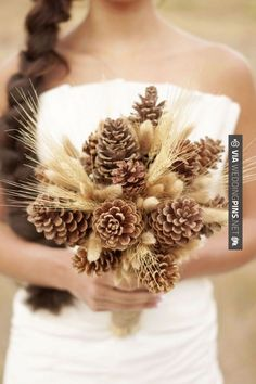 Love the pinecones but add some deep greens and maybe orange for a fall wedding and red for winter