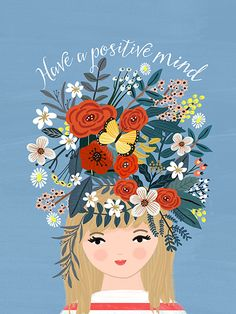 have a positive mind art illustration quote Happy Thoughts - Mia Charro New Quotes, Happy Quotes, Love Quotes, Inspirational Quotes, Super Quotes, Happy Motivational Quotes, Quotes Girls, Music Quotes, Happy Thoughts
