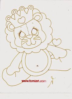 Fomiart: Patrones de Leoncito con corona en Fomi Felt Crafts Patterns, Sewing Patterns, Embroidery Patterns, Flip Flop Wreaths, Colouring Pics, Plush Pattern, Baby Pillows, Animal Pillows, Learn To Paint