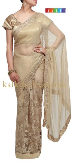 Buy it now  http://www.kalkifashion.com/half-and-half-saree-in-gold-with-zari-and-cut-work.html  Half and half saree in gold with zari and cut work