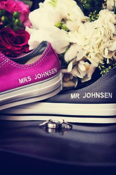 monogrammed converse to change into after the ceremony! (or to wear during!) LOVE. #WeddingPhotographersMN #Shoes