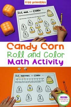 FREE Candy Corn Roll and Color Games - The Kindergarten Connection Corn Rolls, Kindergarten Math Activities, Math Games, Halloween Math, Color Games, Free Candy, Candy Corn, Autumn Activities, Student Learning