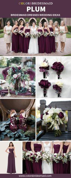 45 Ideas Bridal Flowers Fall Bridesmaid Dresses For 2019 Plum Fall Weddings, Plum Wedding Colors, Fall Wedding Flowers, Bridal Flowers, Purple Wedding, Floral Wedding, Plum Flowers, Plum Wedding Decor, Trendy Wedding