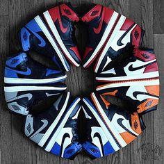 Air Jordan 1. Clockwise: Bred - Black Toe - Shattered Backboard - Fragment - Shadow - Royal