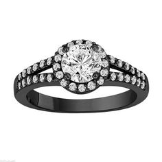 Here is a beautiful handcrafted GIA Certified Diamond Engagement Ring 14k black gold Vintage Style or white gold, I VS2 0.90 carat halo.