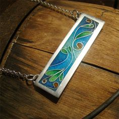 Handmade Fine Silver Cloisonne Enamel Necklace by totallyoutofhand