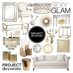 """""""Project Decorate: Sexy Glam With Honey We're Home"""" by dingonunnu ❤ liked on Polyvore featuring interior, interiors, interior design, home, home decor, interior decorating, Nate Berkus, Ballard Designs, West Elm and Christy"""