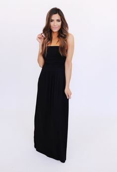 Strapless Ruched Top Maxi- Black - Dottie Couture Boutique
