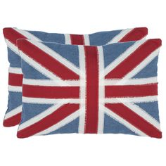 Adorned with the British Union Jack flag, this accent pillow set features fringed details for a soft vintage look. Set of two. British Union Jack motif throw pillows in red. Style # at Lamps Plus. Throw Pillow Sets, Throw Pillows, Pillow Talk, Lumbar Pillow, Pillow Fight, Red Pillows, Pillow Covers, Union Jack Pillow, Red Decorative Pillows