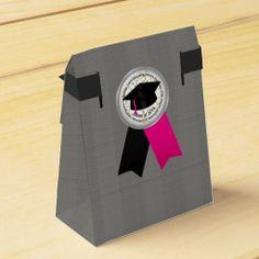 Silver 2014 Graduation Tent Style Favor Box #zazzle #party #graduation #favorbags #pink #black #silver