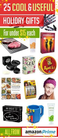 25 Cool & Useful Christmas Gift Ideas from Amazon Prime for under $15 Amazon Christmas Gifts, Holiday Gifts, Bday Cards, Money Cards, Gift Vouchers, Amazon Gifts, Gift Certificates, Thank You Cards, Gift Guide